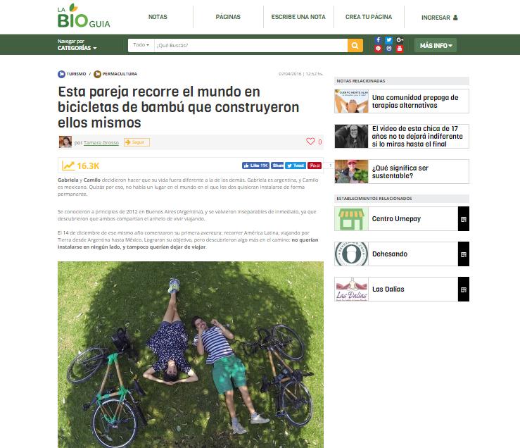 plan b viajero, pareja recorre el mundo en bicicletas de bambu, la bioguia
