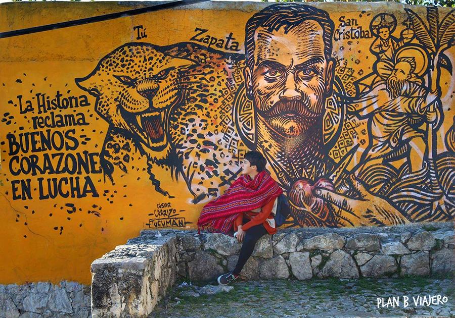 plan b viajero, San Cristóbal de Las Casas Chiapas, mural Zapata