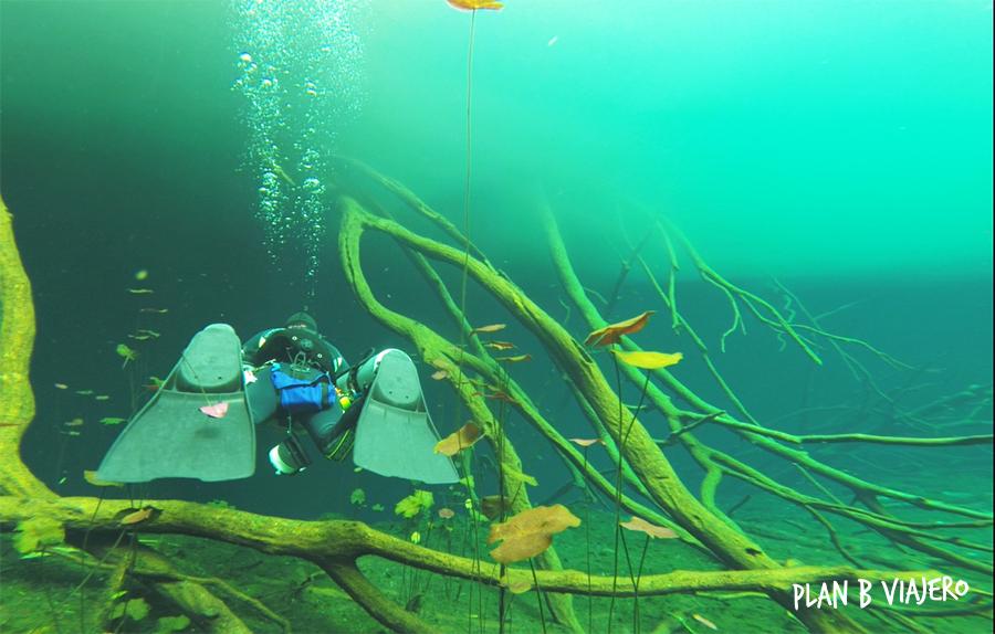 plan b viajero, cenote carwash diving
