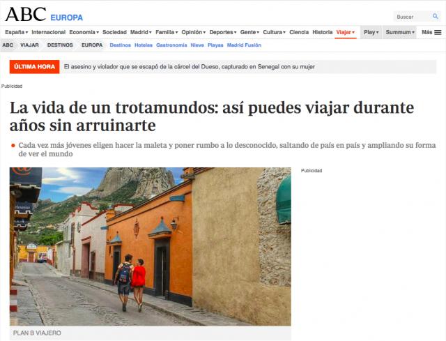ABC España, viajar durante años, plan b viajero